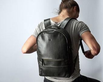 Green Leather Backpack, 14-inch Laptop Rucksack, Back To School. Travel Designer Bag. Personalized Gifts For Men. Mens Bags. Custom Monogram