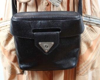 Bag vintage square black leather Made in France