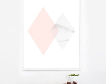 Pink and Marble Geometric Diamond Art Printable, Abstract Prints, Home Decor, Minimalist Art Prints, Marble Prints, Modern Nursery Decor