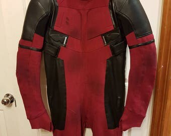 Weathered Deadpool Cosplay / Costume Suit (Replica): New Design Made From Custom Dyed 4 Way Patterned Stretch