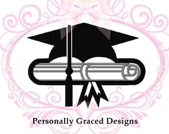 Instant Download School Graduation Cap and Scroll Machine Embroidery Design 3in, 4in, 5in, 6in, Graduate Design, School Graduation, New Grad