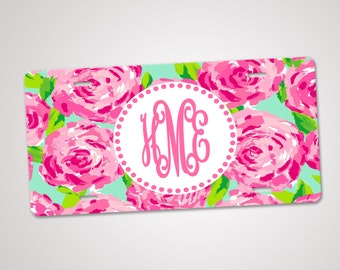 Monogram License Plate, Personalized License Plate, Custom Car Tag, Front Plate, Personalized Tags, Lilly Pulitzer Inspired, Car Accessories