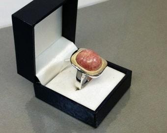Old rhodochrosite ring silver ring 925 SR351