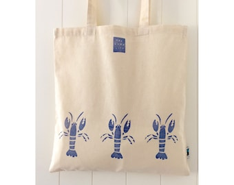 Handprinted Blue Larry the Lobster Fairtrade Cotton Tote