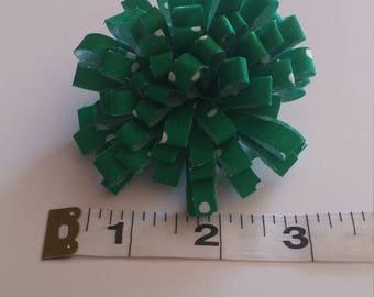 Green and White Polka Dot Hair Clip