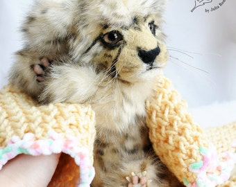 SOLD realistic Cheetah cub Teddy Bear friend wild cat OOAK Cheetah cub Floki