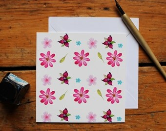 Watercolour Flowers Surface Pattern Greeting Card/Note card - Print of Original Hand Painted Watercolour Illustrations by CottageRts