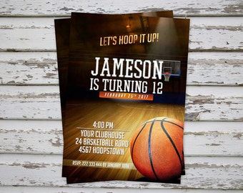 Basketball Birthday Party Invitation, Digital Printable Basketball Invite, DIY Basketball Party Invitation, Sports Invite,  DIGITAL FILE