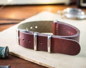 18mm Dark English Red genuie leather nato -style strap, vintage style strap, watch strap, watch band, leather strap