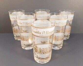 Vintage Franklin D Roosevelt Hyde Park, New York Drinking Glasses