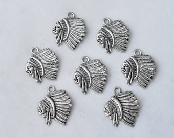 5 Pcs Indian Charms Native American Charms Pendants Antique Silver Tone 22x18mm - YD0671