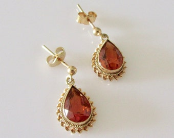 9ct Gold Citrine Pear Drop Earrings