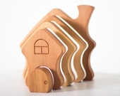 Waldorf Wooden Stacker House Learning toy Wooden Puzzle Montessori Wooden Toys for Toddlers Handmade Eco Friendly