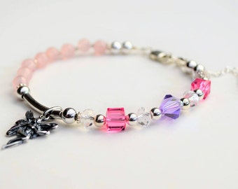 Rose quartz, Swarovski crystal and sterling silver bracelet with +925 silver fairy charm and extension chain
