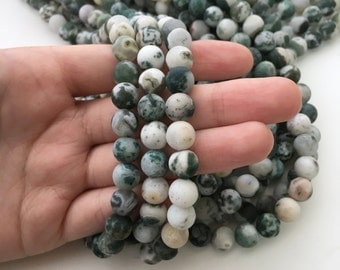 Tree Agate, Matte Beads, 8mm Beads, Frosted Beads, Agate Beads, Gemstone Beads, Matte Agate, Multicolor Beads, Green Gemstones, Green Beads