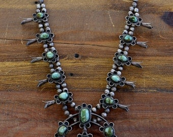 Vintage Navajo Sterling Silver And Green Turquoise Squash Blossom Necklace
