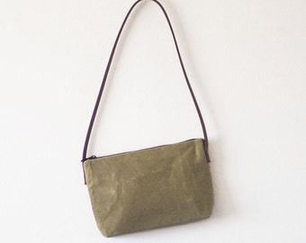 Small light olive waxed canvas shoulder bag with dark brown leather strap