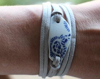 Wrap Bracelet,  Made w/ Japanese Beach Found Blue & White Sea Pottery Shard, Ceramic Jewelry, Bracelet w/ Vegan Friendly Microfiber Suede