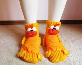 Vintage 80s Novelty Duck/Platypi Slipper Socks - S/M