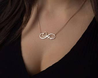 Infinity Name Necklace -  Valentine's gift -Heart pendant  Couple Necklace - Gold Infinity Name Necklace - Infinity Necklace - Name Written