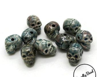 10 - Small - Raku Skull Beads - Skeleton - Novelty - Ceramic - Peruvian Beads