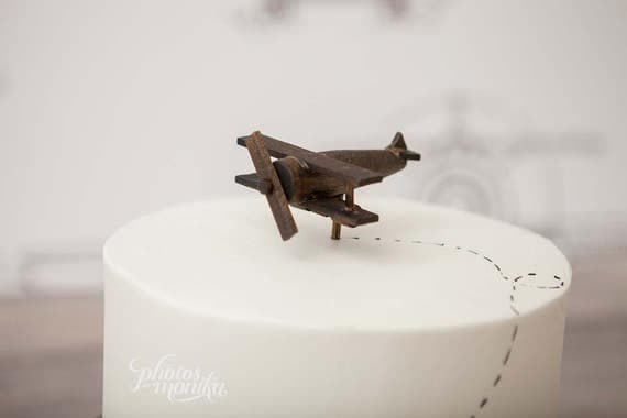 Airplane Cake Topper Old Fashioned Vintage Look Wood Toy