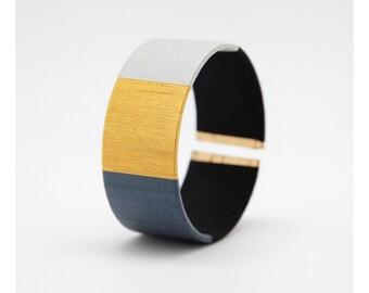 Grey Cuff Bracelet - Bracelet cuff black - Bracelet cuff Kaki - Bracelet ring woven hand - khaki black grey gold - Lilie & Koh