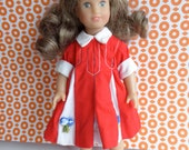 MINI AMERICAN GIRL Dress in Red and White with Appliques - also fits Betsy McCall, Lottie, Skinny Ginny and other slender 8in/20cm dolls