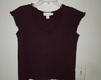 DKNY Pure 100% Wool Heathered Wine/Burgundy Ruffle Edge Short Sleeve Sweater Large