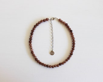 SALE Beaded Choker - Mocha, Brown