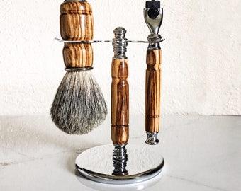 Handmade 3 Piece Shaving Set, Zebrawood Shaving Kit,  Razor and Badger Brush Set, Grooming, Valentines Day, Gift for Him, Wet Shave Set