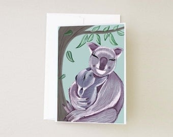 Mother's Day Cute Koala Greeting Card, Mother and Baby Illustrated Koala Card, Cute Animals in love Cards, Birthday Cards For Moms