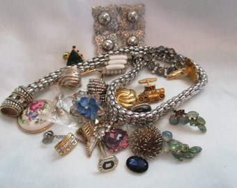 Costume jewelry Repair Parts, Bag of 25 Assorted Multicolored Rhinestones, Silver and Gold Tone Metals