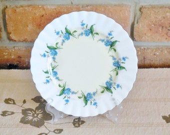 Royal Albert 1950s fine bone china porcelain side dish circle of blue forget me nots high tea