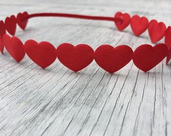 Red Heart Halo Headband // Pink Heart Halo Headband // Red Heart Headband // Newborn Headband // Halo Heart Headband // Valentines Headband