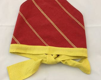 Red and Yellow Cotton Dog Scarf Bandana with Ties for a Medium or Large Dog