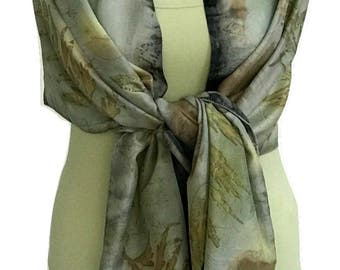 Silk Scarf, Light Blue Silk Scarf, Eco Print, Art Scarf,  Women Scarf, Fashion Accessories, Scarves and Wraps, Handmade Scarf, Scarves