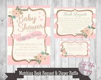 Vintage Baby Shower Invitation - Baby Girl - Shabby Chic Baby Shower - Flower Baby Shower - Pink - Glitter Baby Shower -Princess -Digital
