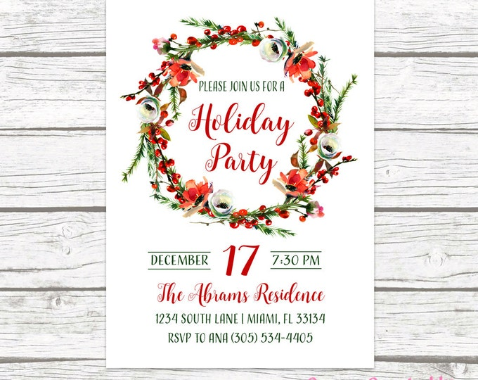Floral Wreath Christmas Holiday Party Invitation, Holly Flower Christmas Floral Red Green Invite, Watercolor Printable or Printed Invitation