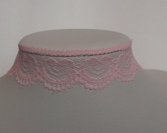 Pink lace choker, Bridal choker, Pink choker, prom choker, Lace choker, bridal jewellery, lace necklace, pink necklace, gift for her