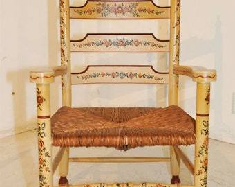 Antique Dutch Painted Arm Chair #7615