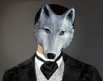 White Wolf (Lykos) head mask   Animal mask   Wolf (Lykos) costume    Papier mache Adult mask    Wolf Paper mache mask