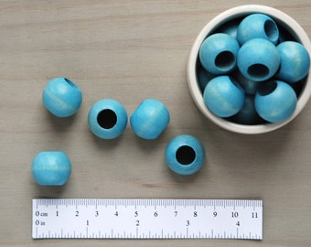 Macrame Beads // Big Hole Beads // Large Blue Wooden Beads // Package of 5 // W052