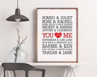Famous Couples Print wall art custom names, wedding anniversary printable decor typography, subway art - Offline Printables