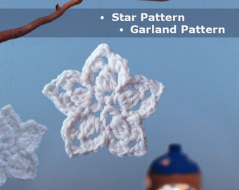 Crochet Star Pattern Crochet Star Garland Crochet Ornament Crochet Christmas decoration Christmas crochet pattern DIY easy crochet pattern