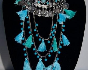 Boho Necklace, Statement Necklace, Trendy Necklace, Beachwear Necklace, Multi Layer Turquoise,  Necklace, Color Necklace, Long Necklace