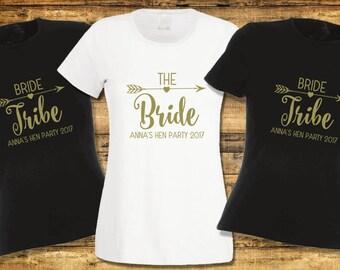 Personalised Hen Night T-Shirt Hen Do Hen Bride Tribe Party Team Bride Ladies Top Slogan Womens Clothing Bridal Wedding Bachelorette Boho
