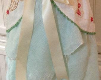 Vintage half apron linen crochet napkin shabby chic Aqua green cream lace battenberg lace lined cream satin ties