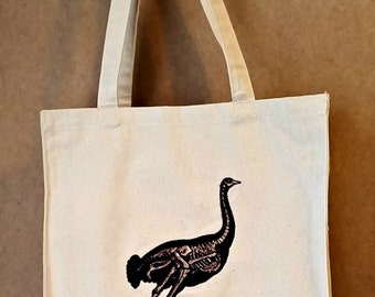 Embroidered Ostrich Skeleton Vintage Graphic Reusable Canvas Tote Bag