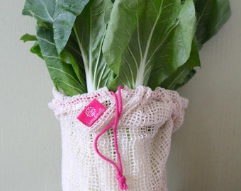 Set of 5 (size L), shopping nets made of organic cotton